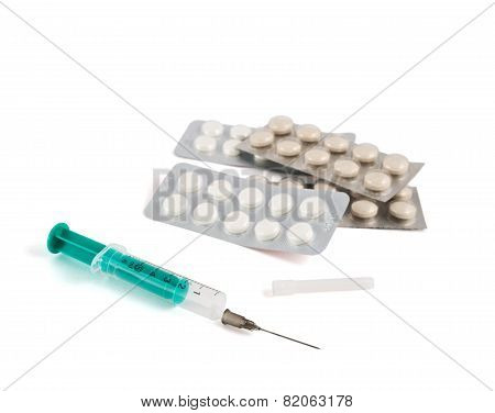 Pile of blister bubble pack and syringe