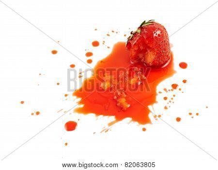 Squashed strawberry isolated