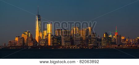 Panorama View Of Manhattan Skyline In Nyc