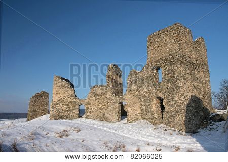 Ruins Of The Ancient Castle In Winter.