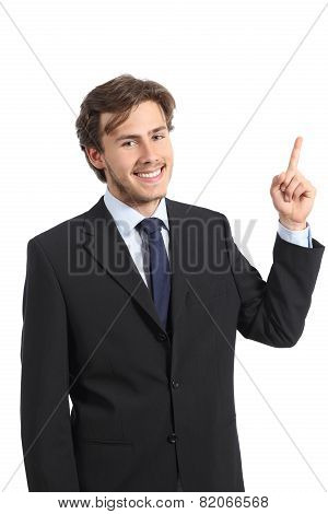 Young Happy Business Man Pointing At Side And Looking At Camera