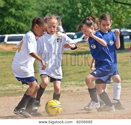 Going For The Ball Girl's Soccer