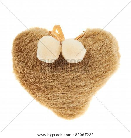 Plush furry brown heart isolated