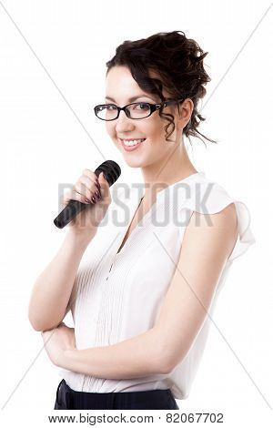 Young Office Woman With Microphone On White Background