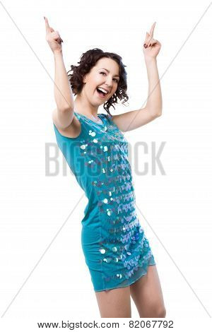 Active Young Woman Dancing In Short Shiny Blue Dress