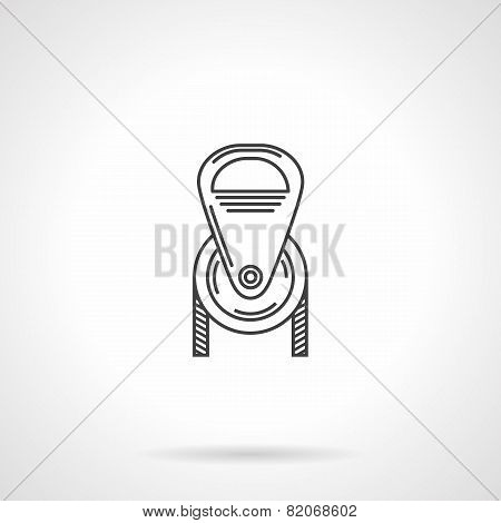 Black line pulley vector icon