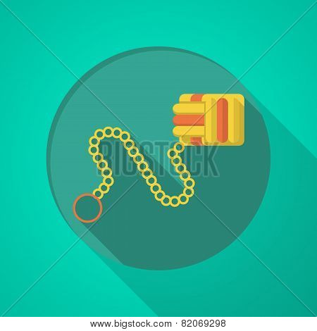 Colored monkeys fist flat vector icon