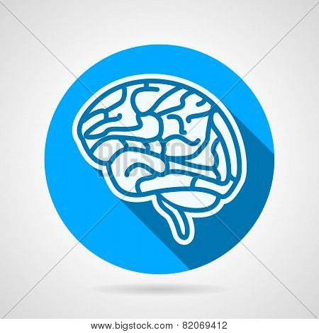Round vector icon for brain