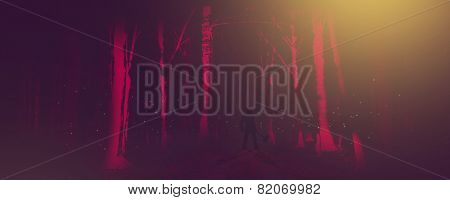 Man With Axe In A Forest At Night In A Classic Horror Scene