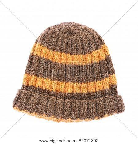 Brown knitted head cap isolated