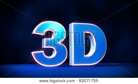 3D Three-dimensional Word With Glowing Letters. Concept For 3D Television