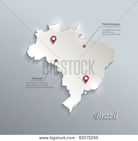Brazil map blue white card paper 3D vector