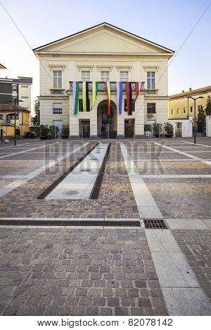 Main square of Mortara, Lombardy: the city theater. Color image