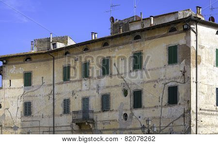 Pitigliano, Tuscany, old palace facade. Color image