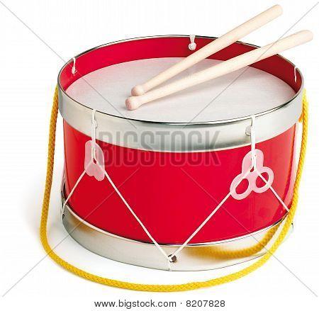 Drum And Drum Sticks On White Background