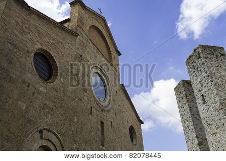 San Gimignano, Tuscany, Duomo and Towers. Color image