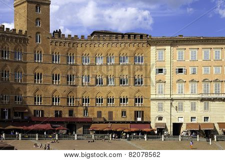 Siena Piazza del Campo panorama. Color image