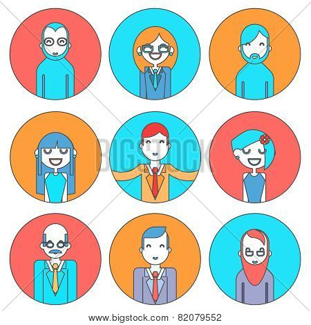 Businessman Male and Female Avatars Director Businesswoman Designer Programmer Geek Hipster characte