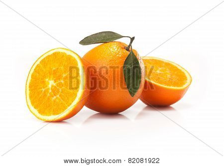 Oranges and orange wedge