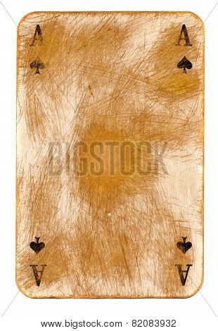 Old Rubbed Ace Of Spades Empty Paper Background