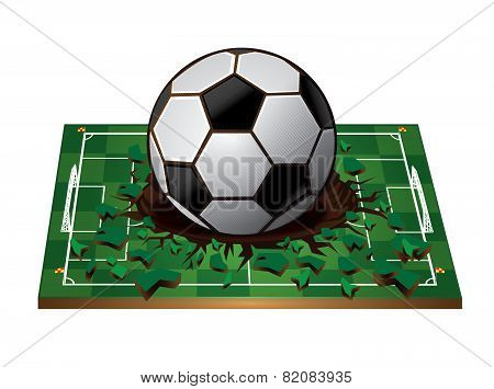 Soccer ball with Broken green 3d soccer field