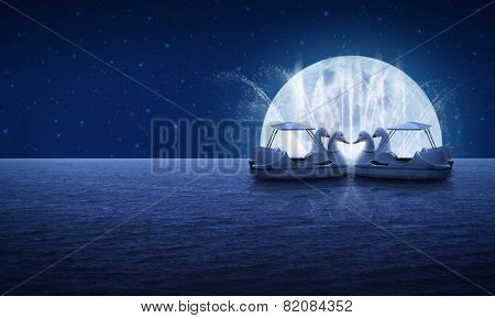 Swan Pedal Boat On Fantasy Sea Sky Fountain And Moon Night Time