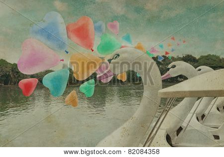 Colorful Heart Love Balloon Float On Air With Swan Pedal Boat At Public Park