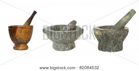 Stone And Wooden Mortar And Pestle Isolated On White Background