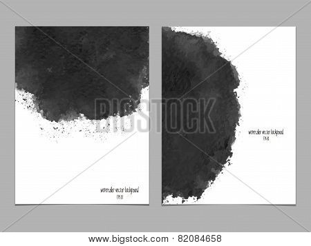 Vector Background With Watercolor Black.