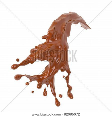 Chocolate splash on white background