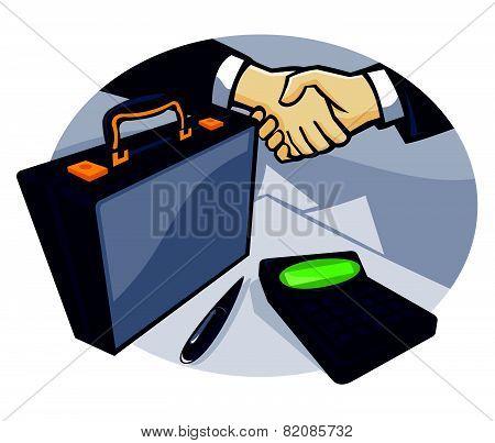 Business Handshake Deal Briefcase Retro