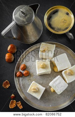 Turkish delight. Eastern dessert with hazelnut and coffee