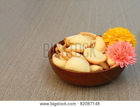 Thai Dessert In Bowl With Artificial Flower