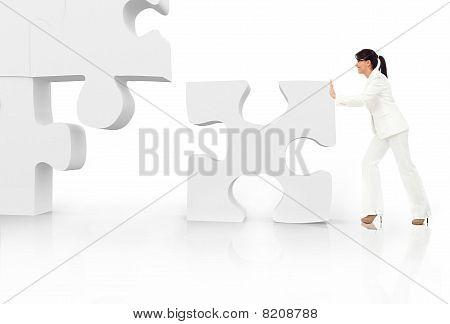 Asian Business-Frau Gebäude eine puzzle