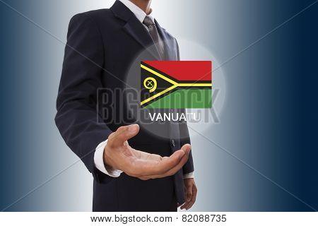 Businessman hand showing Vanuatu Flag