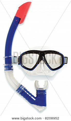 Diving Snorkel And Mask On A White Background