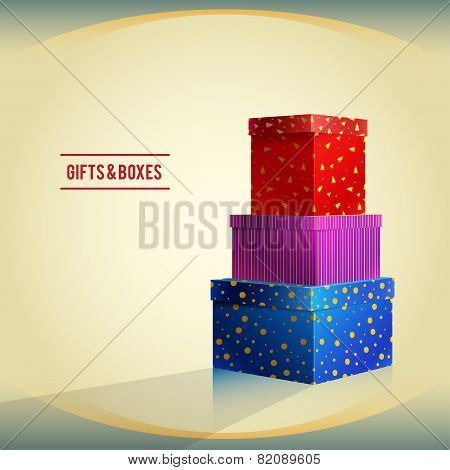Gifts And Boxes, Red, Purple, Blue