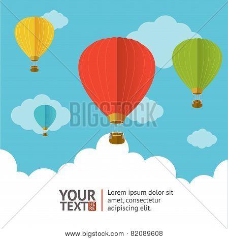 Vector. Hot air ballons option banners