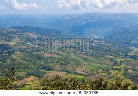 Beautiful mountain landscape in Nothern Thailand. Phu Ruea National Park.