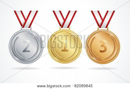 Vector. Set of gold, silver and bronze medals