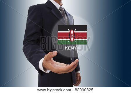 Businessman hand showing Kenya Flag