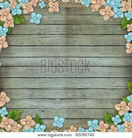 Old Wooden Background With Flowers, Pearls And Lace