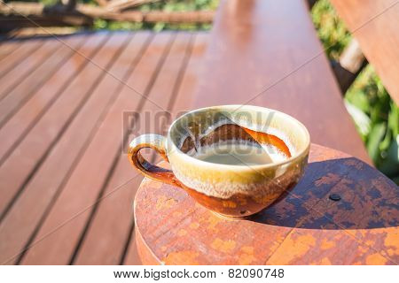 Fresh cup of hot espresso in morning