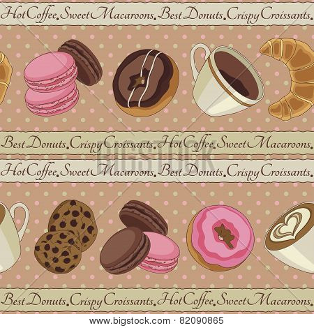 Cookies and coffee pattern, beige