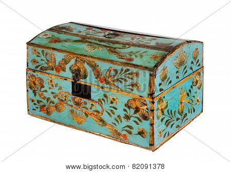 Chest Or Trunk Hand Painted Decorative Antique Old Original European