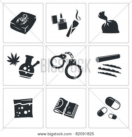 Drugs Abuse Icons Set