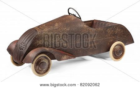 Vintage Childs Toy Pedal Car On White Background