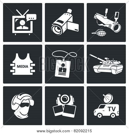 Risk Of Journalism In War Icons Set