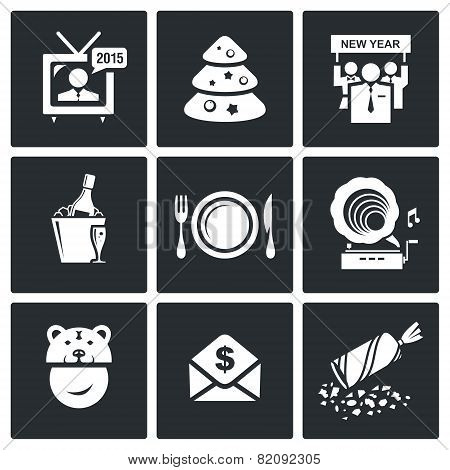 New Year Corporate Vector Icons Set