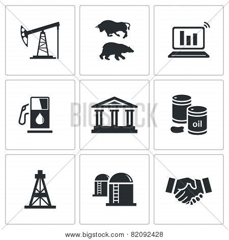 Exchange Of Gas And Oil Industry Vector Icons Set
